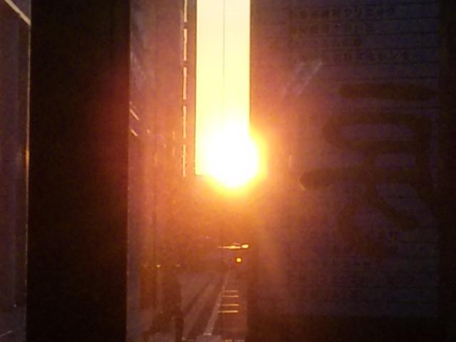 夕日がまばゆかった…